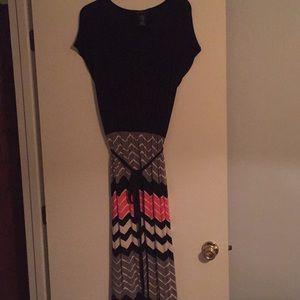 Black Pink Gray Maxi Chevron Dress